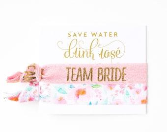 ROSÉ Team Bride Hair Tie Favor | Bachelorette Hair Tie Gift, Save Water Drink Rosé Pink, Light Pink Floral Blush Favors, Wine Tour Favor