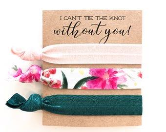 Hair Tie Bridesmaid Gift | Wine + Burgundy Floral Hair Tie Set, Floral Print Hair Ties, Mauve Blush Violet Floral, Bridesmaid Gift Hair Ties