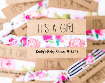 Rose Floral Baby Shower Hair Tie Favors | Pink Floral Hair Tie Favors, Baby Shower Hair Tie Favors, Its a Girl, Pink Girl Baby Shower Favors