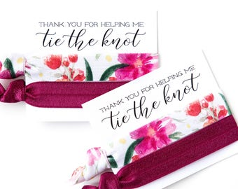 Hair Tie Bridesmaid Gift | Wine + Magenta Floral Hair Tie Favors, Burgundy Bridesmaid Gift Hair Tie Favor, Wedding Favor, Bridal Shower