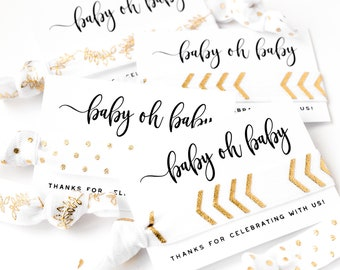 Baby Oh Baby! White + Gold Shower Favors   Gold Hair Tie Favors, Baby Shower Hair Tie Favors, Modern Gold Baby Shower Favors