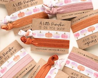 Little Pumpkin Baby Shower Favors | Mauve Burnt Orange Watercolor Pumpkin Girl Baby Shower, Pink Terracotta Autumn Fall Baby Shower
