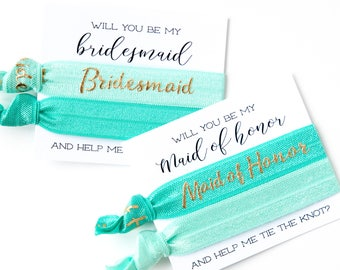 Turquoise + Gold Hair Tie Bridesmaid Gifts | Maid of Honor + Bridal Party Proposal, Hair Tie Bridesmaid Gifts, Will you be my Bridesmaid?