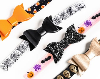 Halloween Bow Headbands | Pink, Skulls, Spiderweb, Candy Corn Baby Toddler Kids, Glitter Bow Girls Hair Accessories, Photography Props