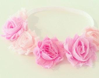 Rose Pink Flower Crown | Pink Flower Crown Headband for Baby Toddler Girls Adults, Light Pink Birthday Flower Crown, Pink Flower Girl Crown