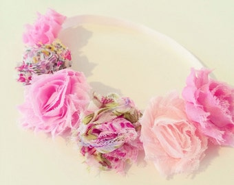 Bohemian Pink Flower Crown | Pink Flower Crown Headband for Baby Toddler Girls Adults, Flower Girl Headband, Light Pink Floral Flower Crown