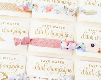 Champagne Hair Tie Favor | Bachelorette Hair Tie Favor, Champagne Campaign Bachelorette Favors, 21st Birthday Party Favors, Adult Birthday