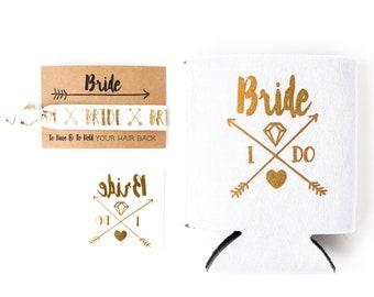 White + Gold Boho Bride Bachelorette Gift Set | Gold Bride Tattoo, Hair Tie + Drink Cooler | Engagement Gift, Bachelorette Party Favor