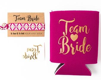 Raspberry + Gold Team Bride Bachelorette Gift Set | Metallic Gold Tattoo, Hair Tie + Drink Cooler | Bachelorette Party Favor