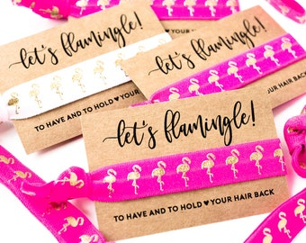 YOU DESIGN Let's Flamingle | Flamingo Bachelorette Party Favors, Hair Tie Favor, Hot Pink + Gold Flamingo Bachelorette Party Hair Tie Favors