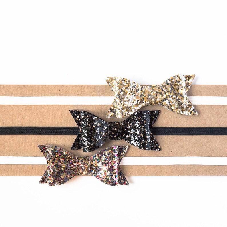 Confetti Bow Headbands Confetti Glitter Bow Headbands for Baby Toddlers Girls Birthday Photo Holiday Christmas New Years Eve Bow Headband