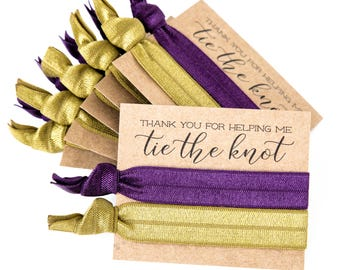 CHOOSE YOUR COLORS Hair Tie Bridesmaid Gifts | Gold + Eggplant Plum Purple Hair Tie Favors, Wedding Party Gifts, Gold Bridal Shower Favors
