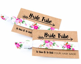 SALE Wild Rose Hair Tie Favors | Pink Floral Bachelorette Party Favor Hair Ties, Boho Bohemian Floral Bachelorette, Hair Tie Bridesmaid Gift