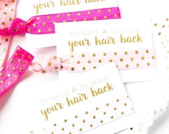 YOU DESIGN | Bridal Shower Hair Tie Favors, Pink White + Gold Hair Tie Favors, Custom Wedding + Bridal Shower Favors, Bachelorette Favors