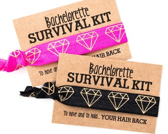 YOU DESIGN Bachelorette Survival Kit Hair Tie Favor | Black + Gold Gem Bachelorette Hair Ties, Diamond Ring Hair Tie, Bachelorette Swag Bags