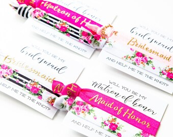 Will You Be My Bridesmaid Hair Tie Gift   Hot Pink Black White + Gold Floral Hair Tie Bridesmaid Gift, Flower Bridesmaid Proposal Card