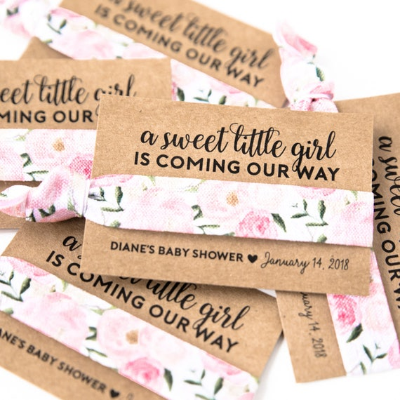 Pink Floral Baby Shower Hair Tie Favors | Vintage Floral Hair Tie Favors,  Baby Shower Hair Tie Favors, Pink Floral Girl Baby Shower Favors