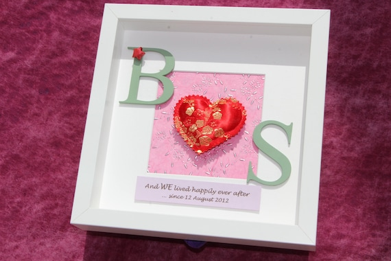 12th Year Wedding Anniversary Gifts: 4th / 12th Silk Wedding Anniversary Gift Shadow Box Frame