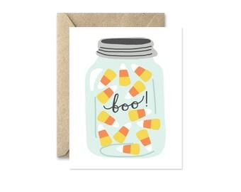 Candy Corn Jar - Greeting Card