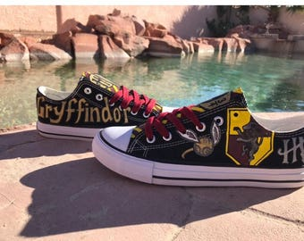 3ae352a6c2672b Custom Black Harry Potter Inspired Gryffindor hand painted shoes.