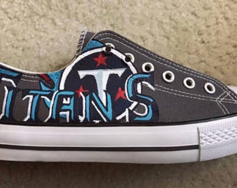 Custom Hand Painted Tennessee Titans Canvas fan inspired shoes