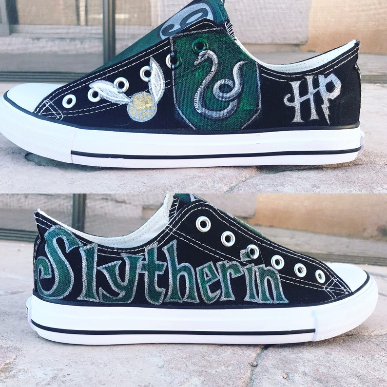 ae9eaba06e61 Custom Harry Potter Inspired Slytherin hand painted shoes