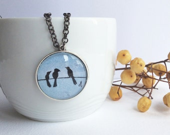 Necklace with original watercolor Pendant necklace Handmade jewelry Birds watercolor illustration Gifts for women
