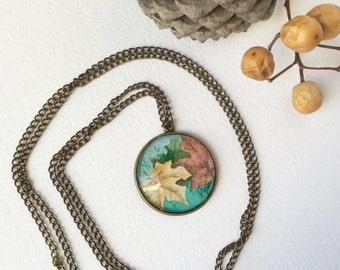 Necklace with original watercolor Pendant necklace  Handmade jewelry Autumn leaves watercolor illustration Fall fashion Gifts for women