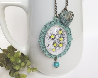 Handmade necklace Shabby chic floral watercolor pendant Green mint decapé effect cameo Gifts for her Handmade jewelry