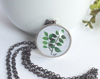 Necklace with original leaves watercolor Pendant necklace Handmade jewelry Leaves watercolor illustration Gifts for women