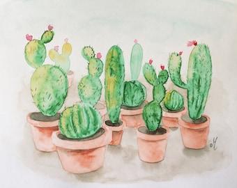 Cactus watercolor Original watercolor painting Nature art Wall art Home decor Original art Floral watercolor