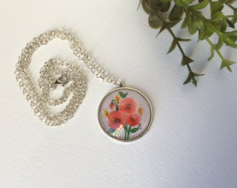 Necklace with original watercolor Pendant necklace Handmade jewelry Poppies  watercolor illustration Gifts for women