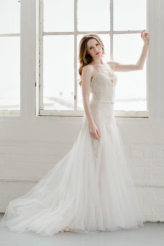 Rückenfreie Brautkleid Roségold Tüll-Kleid sexy Braut