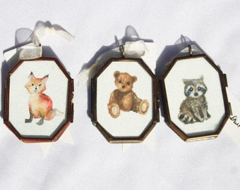 Baby Animal Watercolor Lockets
