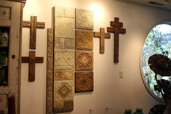 God is LOVE Handmade Crosses 135 Yr Old Antique Ceiling Tin Tiles Indian Religious Miligros Garden Art Traditional Rustic Primitive Chic