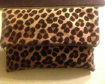 Tan and Brown Fold over animal print Clutch
