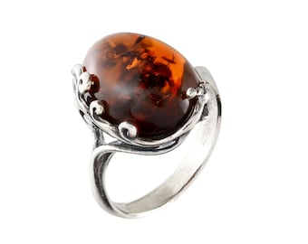 Amber Cameo Maiden Ring  Cherry Baltic Amber Sterling Silver Adjustable Ring Womens  Hand Carved Flower Lady Red Gemstone Handmade Ring