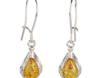 Amber Earrings .Baltic Amber Jewelry Love Heart Earrings.Sterling Silver 925 Earrings.Handmade Cognac Stone Earrings Birthday Amber Gift