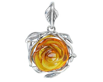 "Sterling Silver and Baltic Amber Pendant ""Rose"""