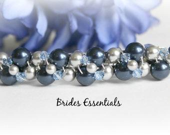 Wedding Barrette, Pearl Hair Accessories, Beaded Pearl Barette, Bridal French Barrette, Ivory Champagne, Wedding Hair Clip, Something Blue