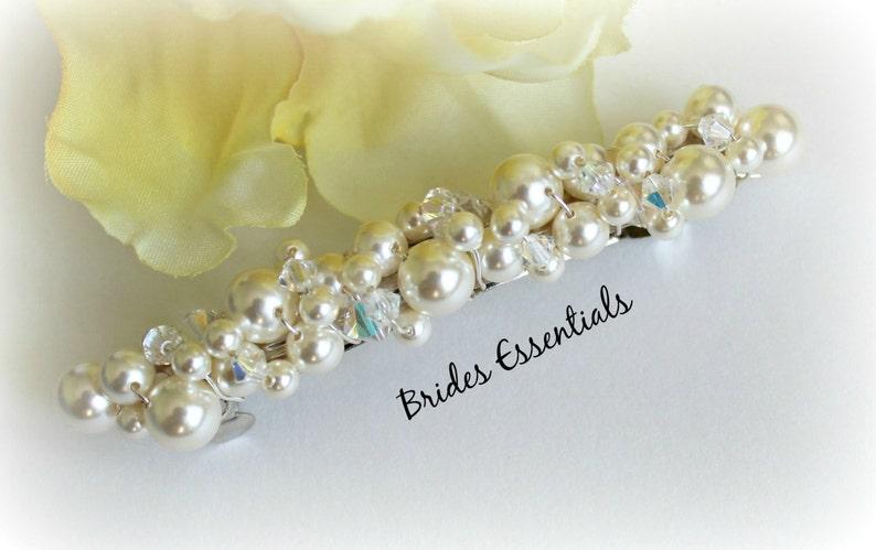 Bridal Barrette Beaded Pearl Barette Wedding Clip Pearl Hair Accessories Cream White French Barrette Pearl Hairpiece Wedding Barrette