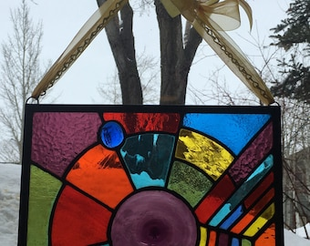 Burst of Color Stained Glass Panel