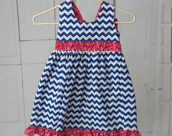 Handmade Patriotic Dress with Bow Back