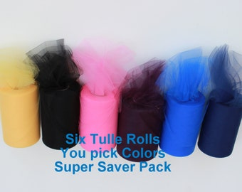 Six tulle rolls - You pick colors - Super saver tulle rolls - Six tulle rolls - 100 yards each - 6 inch tulle rolls