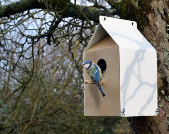 Milk Carton inspired Nestbox / Birdhouse - Recycled birch ply with recycled steel