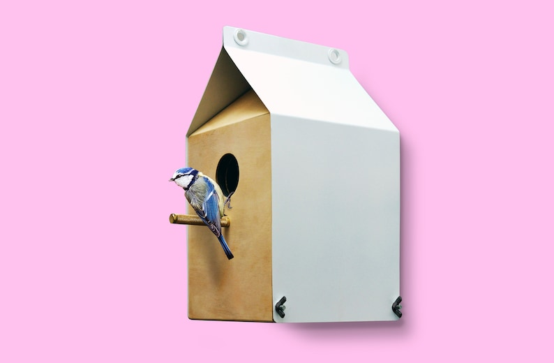 Milk Carton inspired Nestbox / Birdhouse  Recycled birch ply image 0