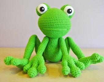 Kirk Crochet Frog Amigurumi - Handmade Crochet Amigurumi Toy Doll - Frog Crochet - Amigurumi Frog - Woodland Animal