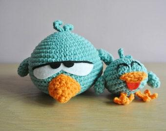 Crochet Sleepy Bird Amigurumi - Handmade Crochet Amigurumi Toy Doll - Pocoyo - Sleepy Bird Crochet - Amigurumi Sleepy Bird
