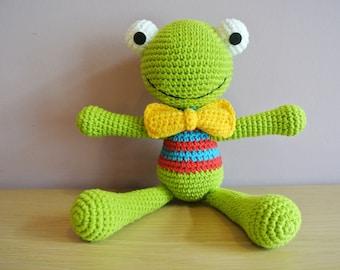 Felix Crochet Frog Amigurumi - Handmade Crochet Amigurumi Toy Doll - Frog Crochet - Amigurumi Frog - Felix the Frog