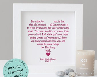 My Wish For You - Personalised Gift - Word Art - Printable Gift - New Baby Gift - Nursery Wall Art - Baby Girl - Baby Boy - Baby Shower Gift